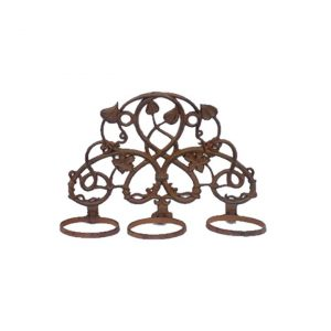 Cast Iron Maple Leaf Wall Pot Stand, Antique Rust