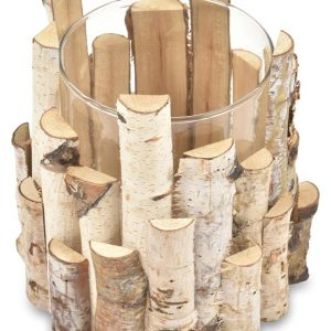 Large Birch Wood Round Candle Holder